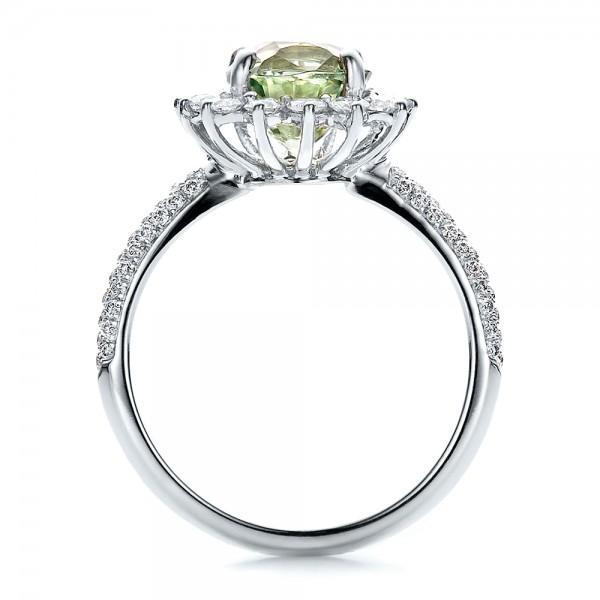 Custom Green Sapphire And Diamond Engagement Ring 100111