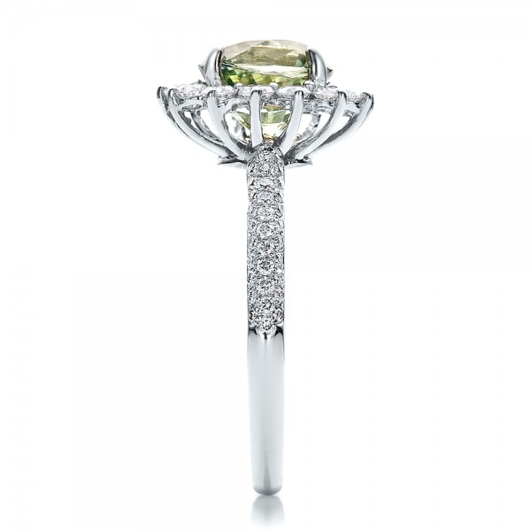 Custom Green Sapphire and Diamond Engagement Ring - Side View