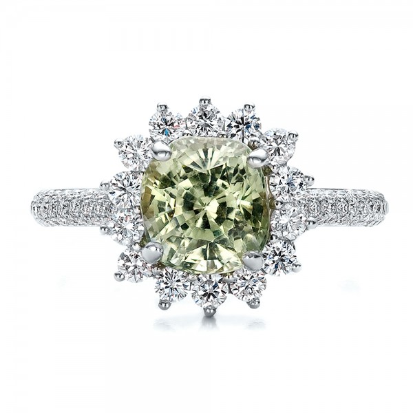 Custom Green Sapphire and Diamond Engagement Ring - Top View