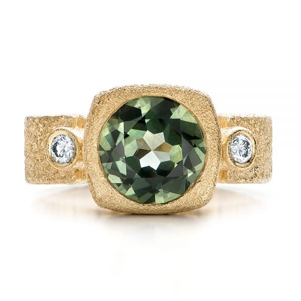 Custom Green Sapphire and Textured Yellow Gold Engagement Ring - Top View -  101104 - Thumbnail