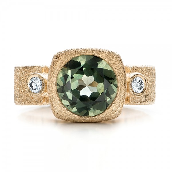 Custom Green Sapphire and Textured Yellow Gold Engagement Ring - Top View