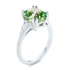 Custom Green Tourmaline and Diamond Engagement Ring