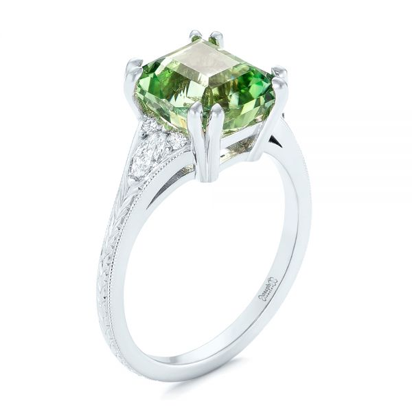 Custom Green Tourmaline and Diamond Engagement Ring - Three-Quarter View -  103593 - Thumbnail