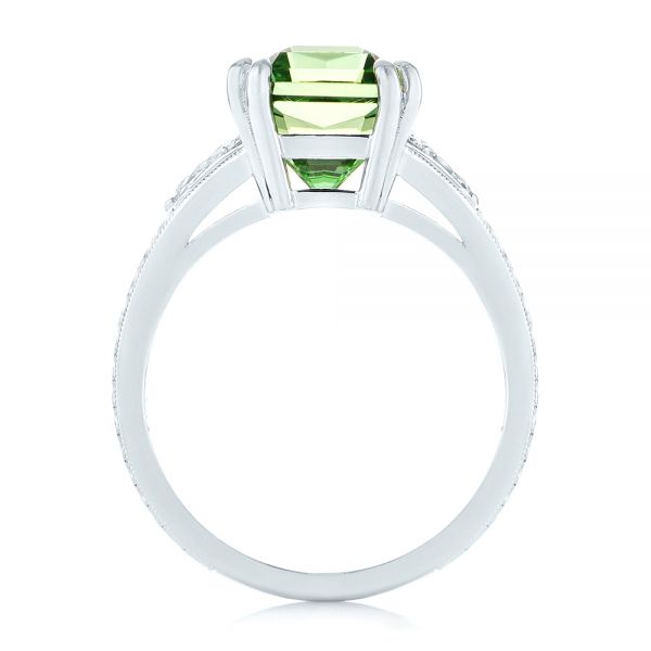 Custom Green Tourmaline and Diamond Engagement Ring - Front View -  103593 - Thumbnail