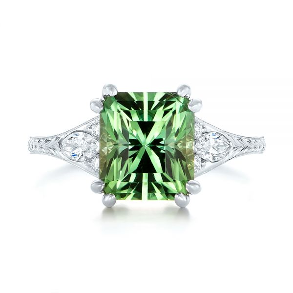 Custom Green Tourmaline and Diamond Engagement Ring - Top View -  103593 - Thumbnail