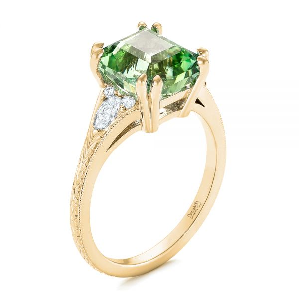 14k Yellow Gold 14k Yellow Gold Custom Green Tourmaline And Diamond Engagement Ring - Three-Quarter View -