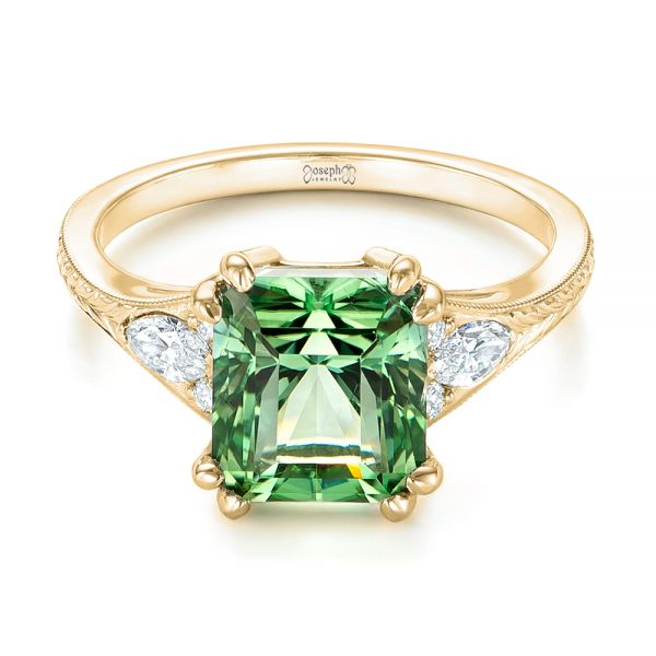 14k Yellow Gold 14k Yellow Gold Custom Green Tourmaline And Diamond Engagement Ring - Flat View -