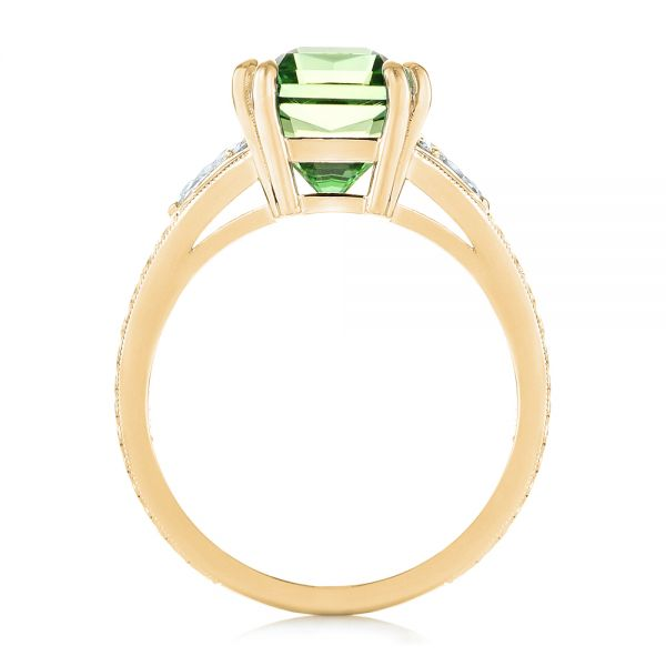 14k Yellow Gold 14k Yellow Gold Custom Green Tourmaline And Diamond Engagement Ring - Front View -