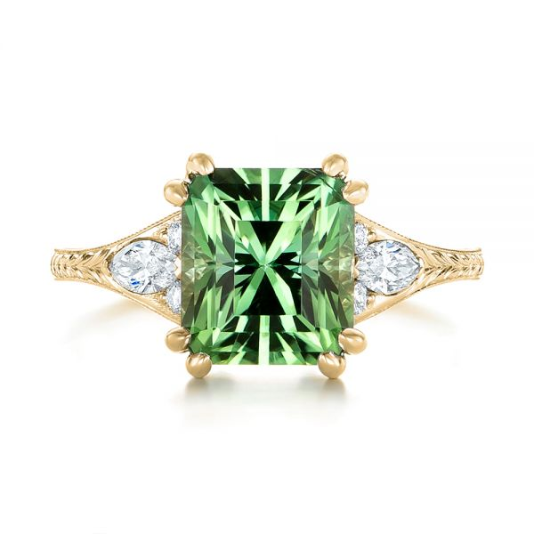 14k Yellow Gold 14k Yellow Gold Custom Green Tourmaline And Diamond Engagement Ring - Top View -