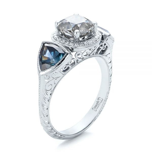 Custom Grey Diamond and Blue Sapphire Engagement Ring