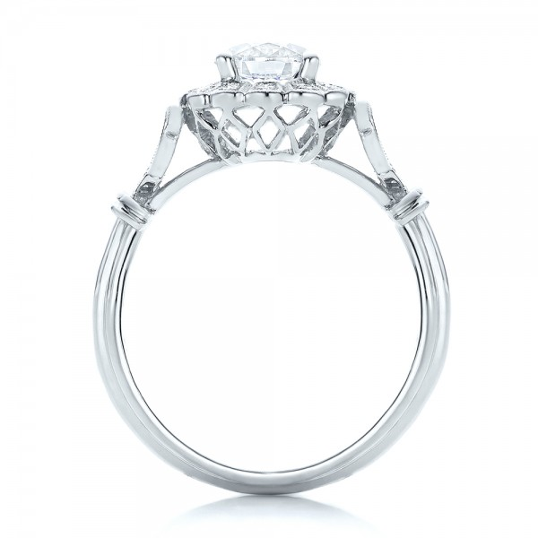 Diamond Halo Engagement Ring - Finger Through View