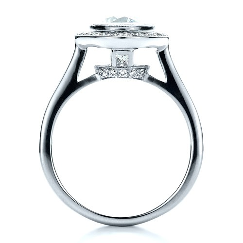 Custom Halo Engagement Ring - Finger Through View