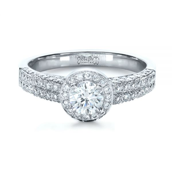14k White Gold Custom Halo Micro-pave Diamond Engagement Ring - Flat View -