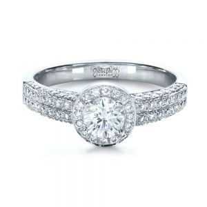 Custom Halo Micro-Pave Diamond Engagement Ring