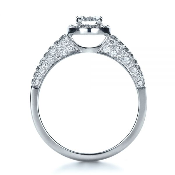 14k White Gold Custom Halo Micro-pave Diamond Engagement Ring - Front View -