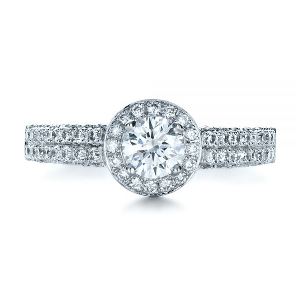 14k White Gold Custom Halo Micro-pave Diamond Engagement Ring - Top View -