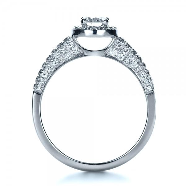 Custom Halo Micro-Pave Diamond Engagement Ring - Finger Through View