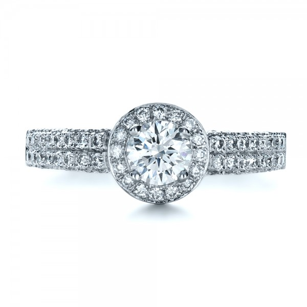 Custom Halo Micro-Pave Diamond Engagement Ring - Top View