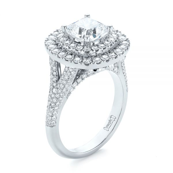 Custom Halo Pave Diamond Engagement Ring - Image