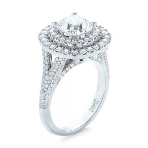 Custom Halo Pave Diamond Engagement Ring