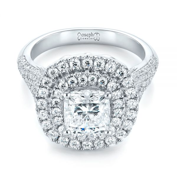 Platinum Custom Halo Pave Diamond Engagement Ring - Flat View -