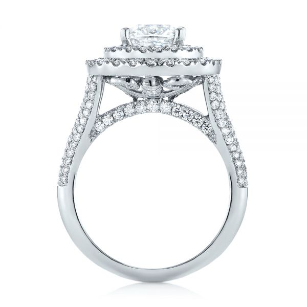Platinum Custom Halo Pave Diamond Engagement Ring - Front View -