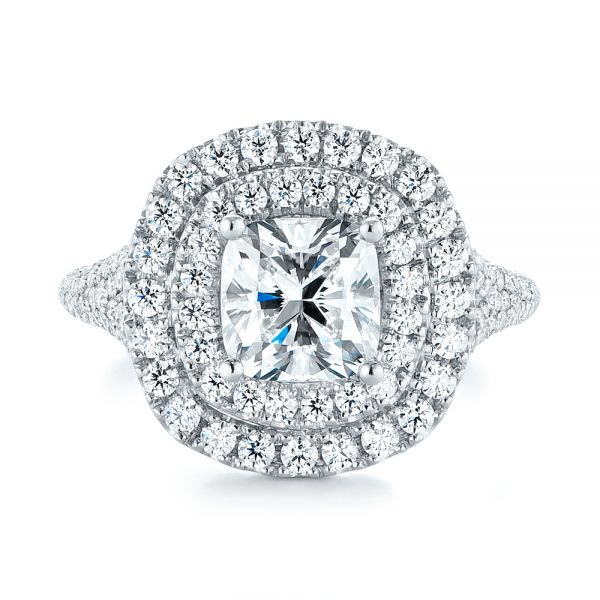 Platinum Custom Halo Pave Diamond Engagement Ring - Top View -