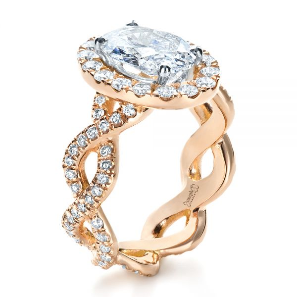 Custom Halo Rose Gold Engagement Ring - Image