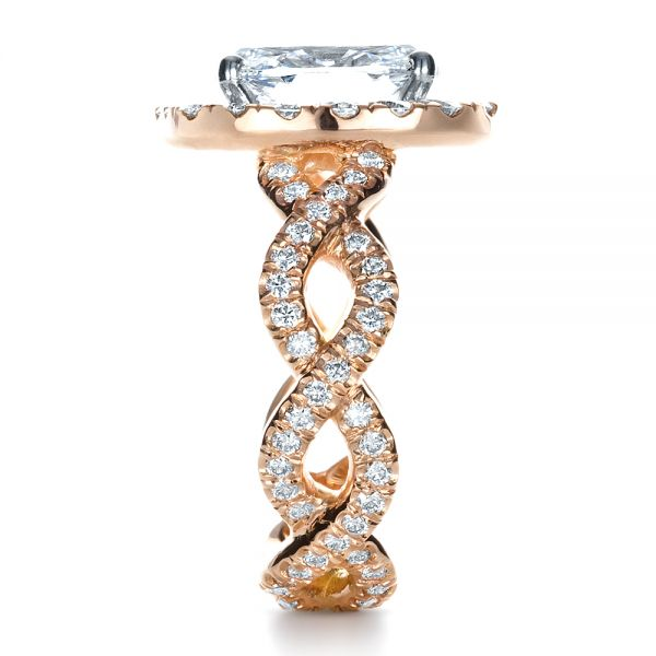 Custom Halo Rose Gold Engagement Ring - Side View -  1390 - Thumbnail