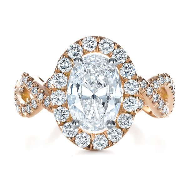 Custom Halo Rose Gold Engagement Ring - Top View -  1390 - Thumbnail