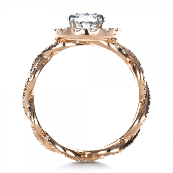 Custom Halo Rose Gold Engagement Ring - Front View -  1390 - Thumbnail
