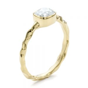Custom Hammered Gold Engagement Ring - Image