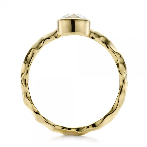 Custom Hammered Gold Engagement Ring - Finger Through View