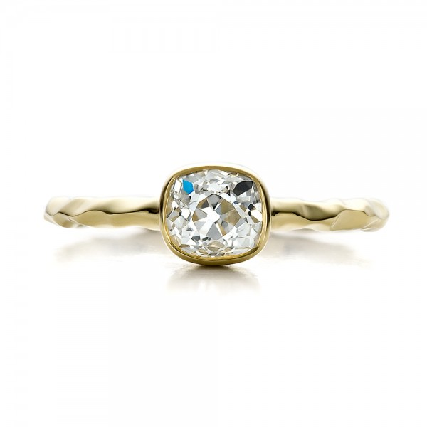 Custom Hammered Gold Engagement Ring - Top View