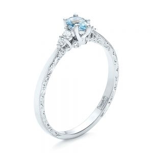 Custom Hand Engraved Aquamarine and Diamond Engagement Ring - Image