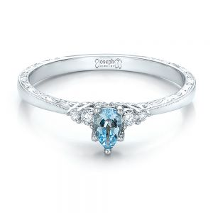 Custom Hand Engraved Aquamarine and Diamond Engagement Ring