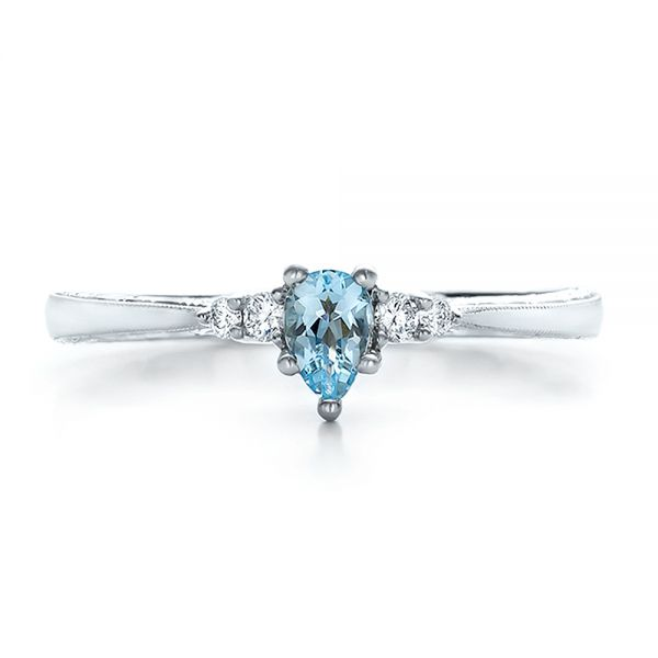 Custom Hand Engraved Aquamarine and Diamond Engagement Ring - Top View -  100628 - Thumbnail