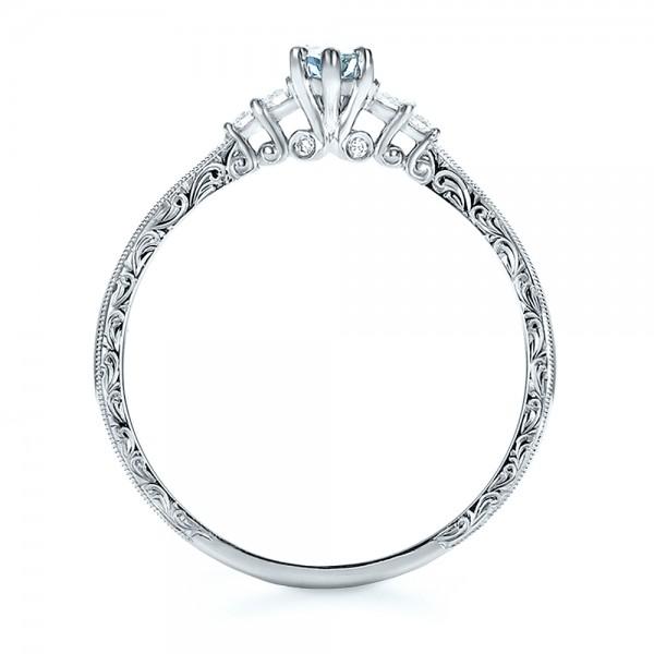 Custom Hand Engraved Aquamarine and Diamond Engagement Ring - Finger Through View
