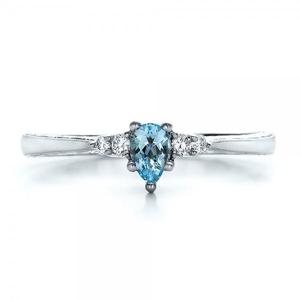 Custom Hand Engraved Aquamarine and Diamond Engagement Ring - Top View