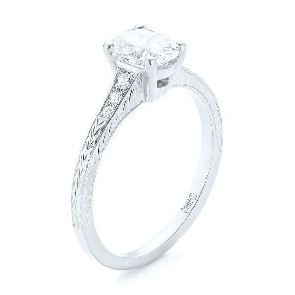 Custom Hand Engraved Diamond Engagement Ring