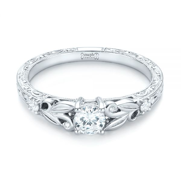 Custom Hand Engraved Diamond Engagement Ring - Flat View -  103242 - Thumbnail