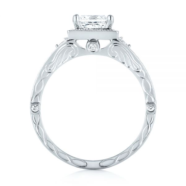 18k White Gold 18k White Gold Custom Hand Engraved Diamond Engagement Ring - Front View -  103473