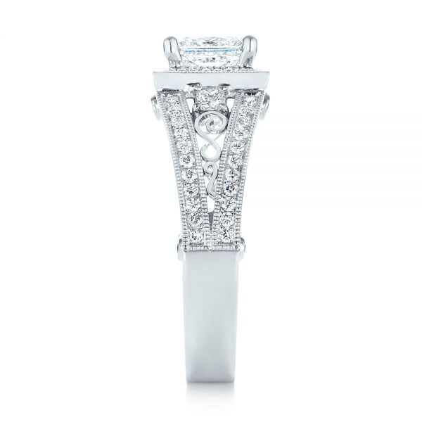 18k White Gold 18k White Gold Custom Hand Engraved Diamond Engagement Ring - Side View -  103473
