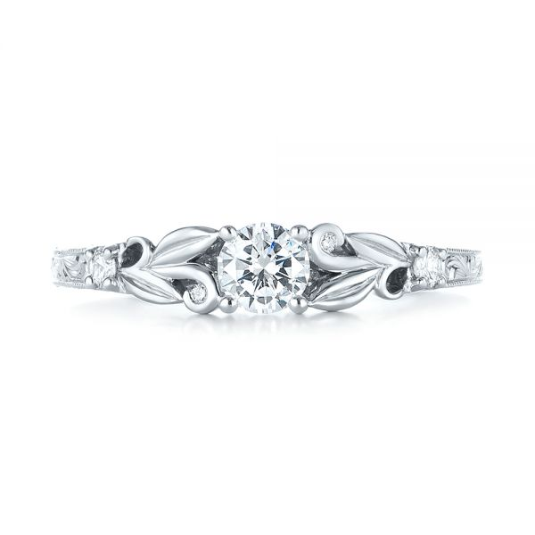 Custom Hand Engraved Diamond Engagement Ring - Top View -  103242 - Thumbnail