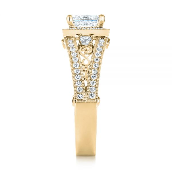 14k Yellow Gold 14k Yellow Gold Custom Hand Engraved Diamond Engagement Ring - Side View -