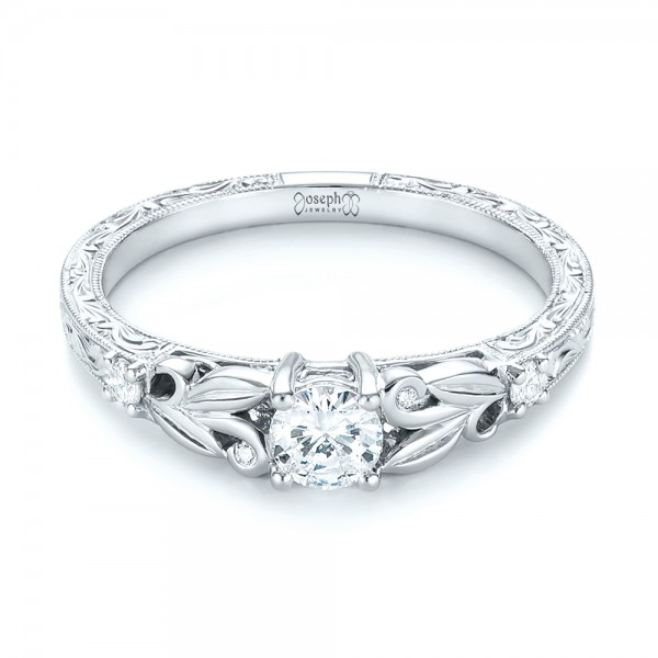 Custom Hand Engraved Diamond Engagement Ring - Laying View