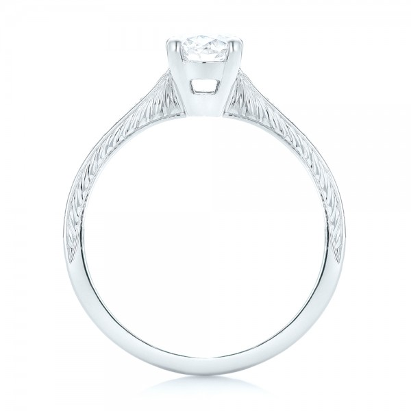 Custom Hand Engraved Diamond Engagement Ring - Finger Through View