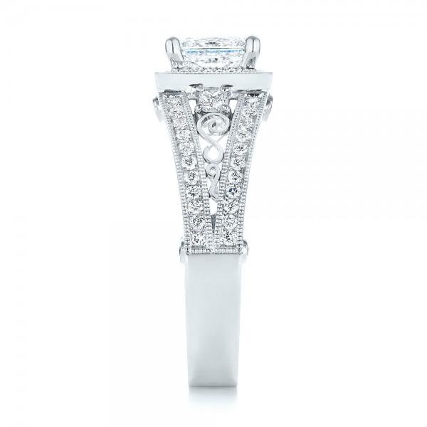 Custom Hand Engraved Diamond Engagement Ring - Side View