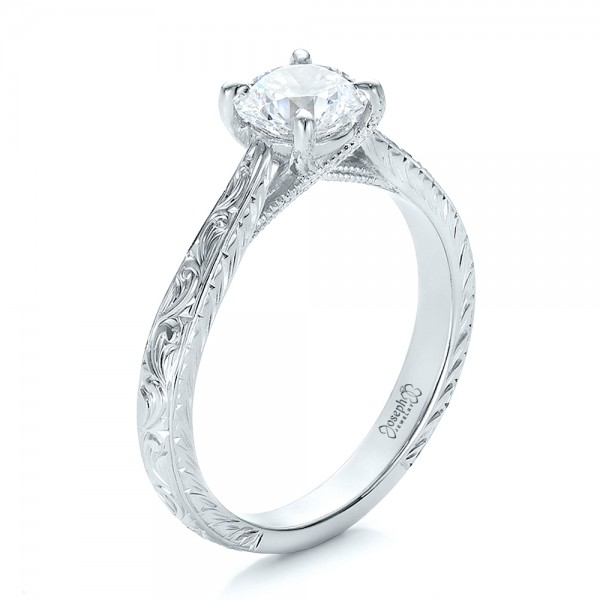 Custom Hand Engraved Diamond Solitaire Engagement Ring