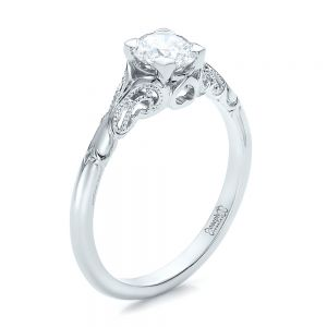 Custom Hand Engraved Diamond Solitaire Engagement Ring - Image